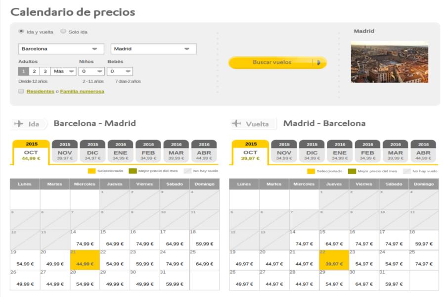 Calendario de precios Vueling