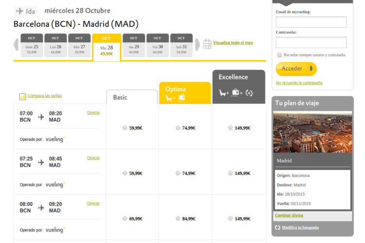 Cómo comprar vuelo barato Vueling