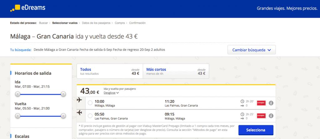 Comprar vuelo barato Gran Canaria