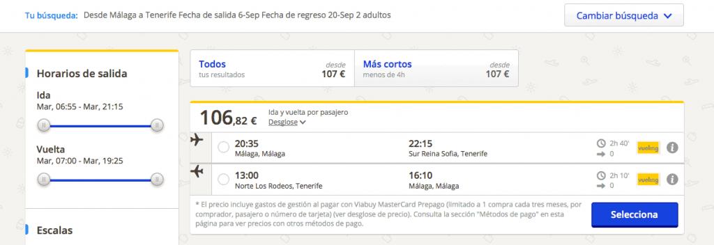 Comprar vuelo barato Tenerife