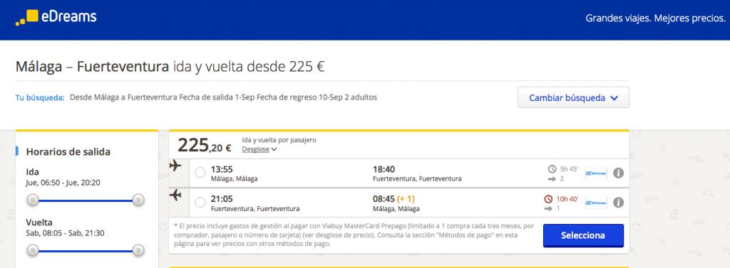 Comprar vuelo barato desde Málaga