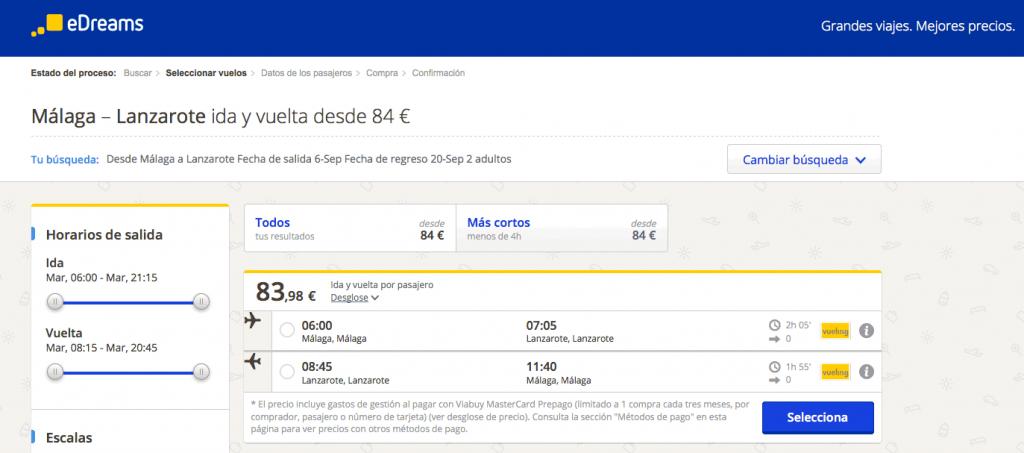 Comprar vuelos baratos Lanzarote