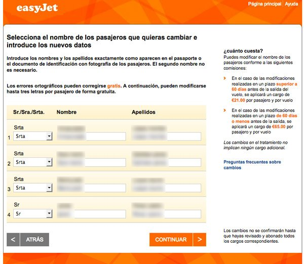 modificar datos pasajero easyjet