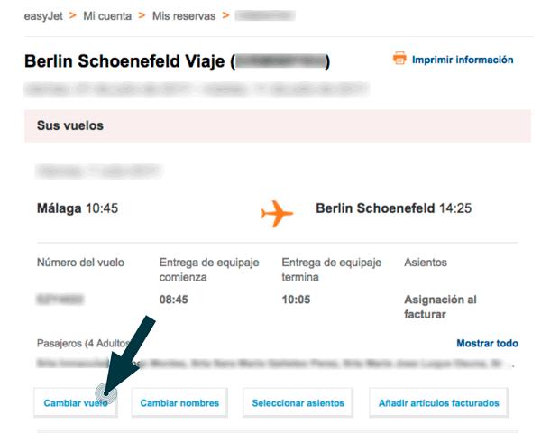 modificar fecha vuelo easyjet