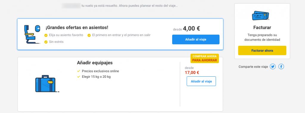 elegir asientos avión facturación online Ryanair
