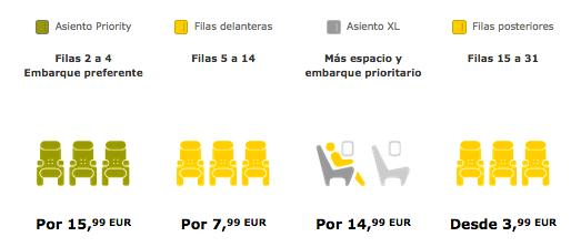 precio asientos avión vueling